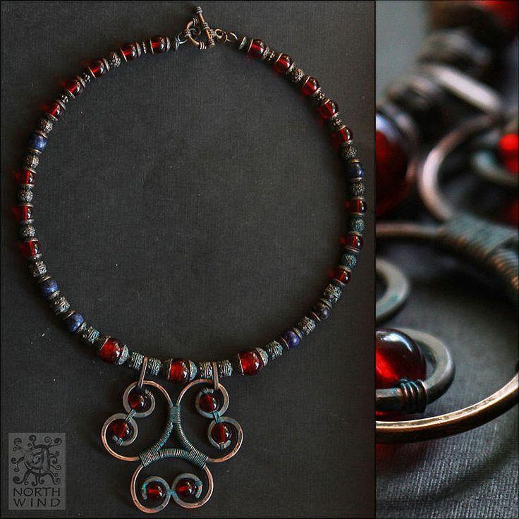 Купить Ожерелье Северная Княжна - ярко-красный, красный, красное ожерелье…