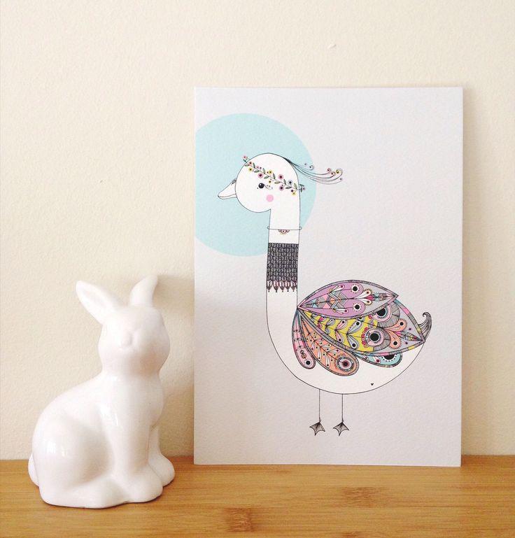 Copyright illo 2015 | All artwork belongs to Vivienne van Deventer | Swan Art-print | Illustration | Swan | Feathers | Patterns | Hand Illustrated