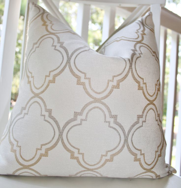 Decorative Pillows Ivory : Decorative Pillow Ivory Gold Silver Grey Moroccan Designer Pillow Cover 18 x 18 - Throw Pillow ...