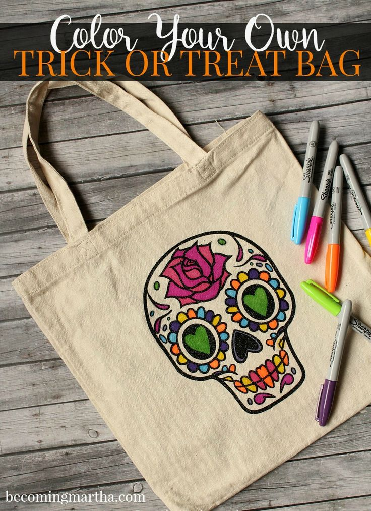 Take coloring to the next level with the adorable sugar skull trick or treat bag that you can color yourself with sharpies or fabric markers!