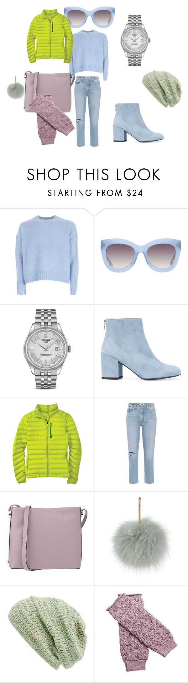 """""""samesaturation"""" by explorer-15067780217 on Polyvore featuring Helmut Lang, Alice + Olivia, Tissot, Stuart Weitzman, Mountain Hardwear, Paige Denim, Laura Di Maggio, Yves Salomon, King & Fifth Supply Co. and NOVICA"""