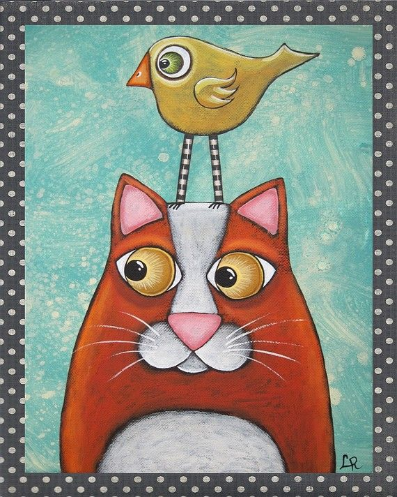 Folk Art Cat Bird PRINT of original mixed media painting by Lori Ramotar. $14.00, via Etsy.