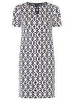 Womens Blue Geo Print Shift Dress- Blue
