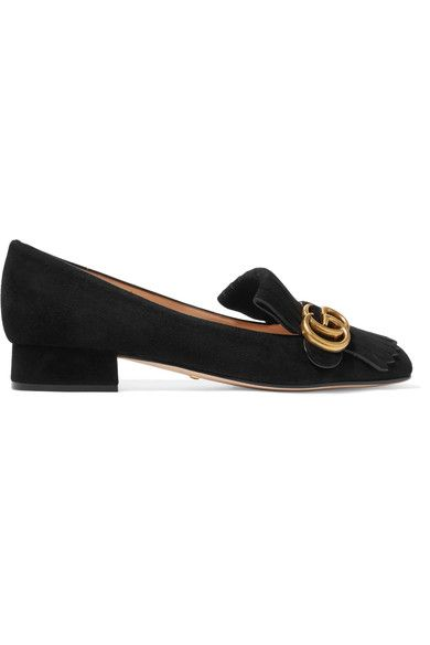 Gucci - Marmont Fringed Suede Loafers - Black - IT41.5