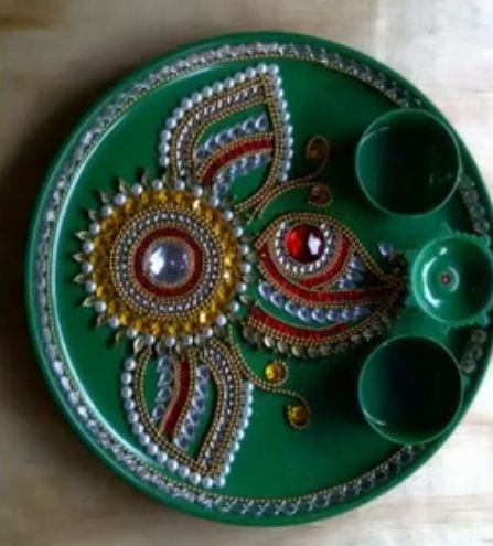 Aarti thali diwali crafts pinterest for Aarti thali decoration with kundan