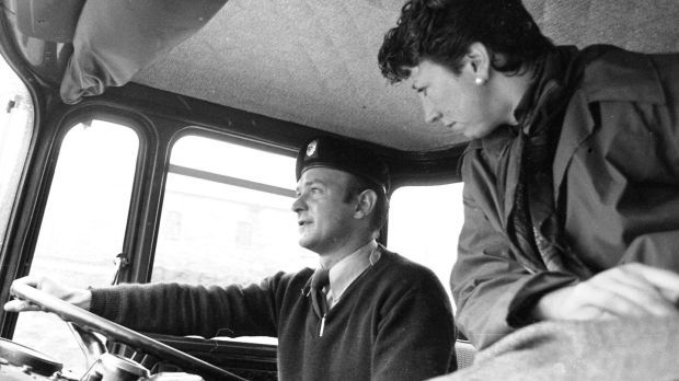 Olivia O'Leary joining an Army driver in 1980 on one of the Defence Forces deliveries of petrol in Dublin during the oil tanker drivers' dispute. Photograph: Tom Lawlor