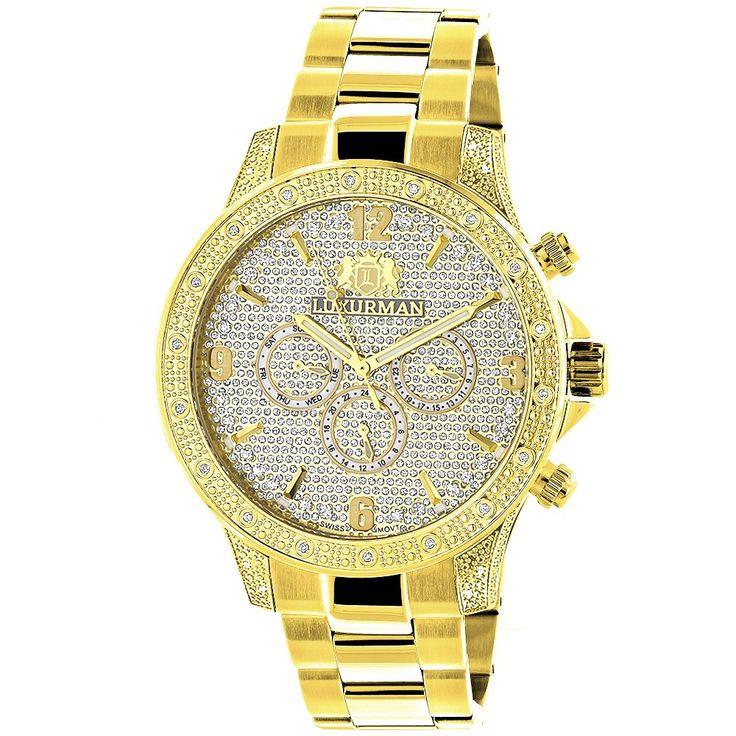 Luxurman Liberty Mens Diamond Watch 0.5ct Yellow Gold Plated