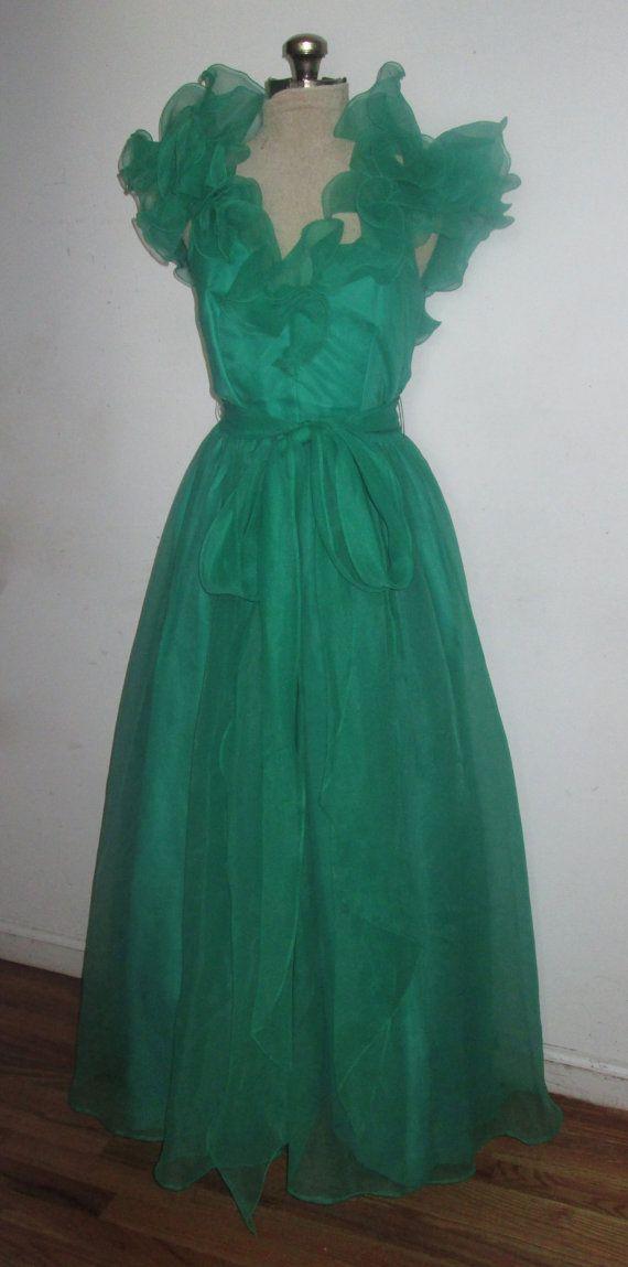 1970 Vintage Bonwit Teller vert en mousseline de soie par ANVINTRO