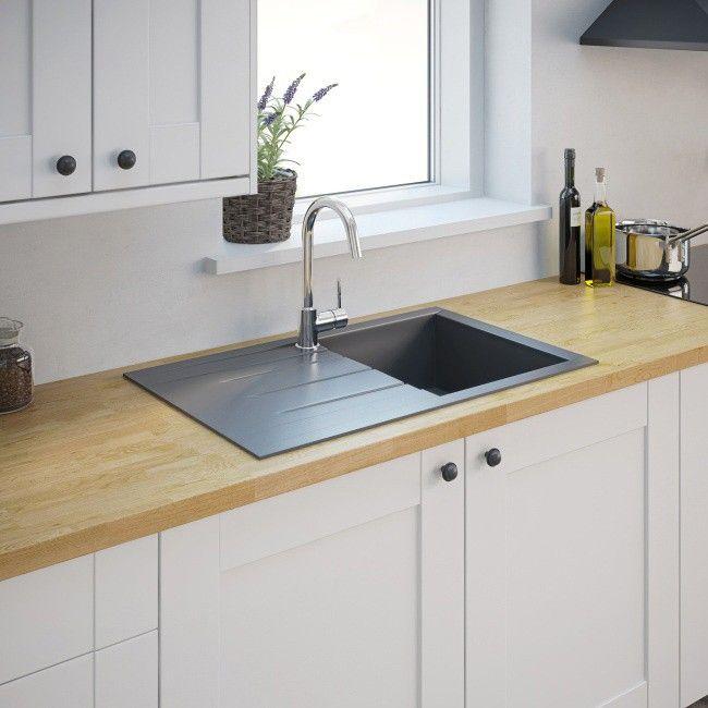 Zlewozmywak granitowy Ising 1-komorowy z ociekaczem szary - Granitowe - Zlewozmywaki - Wyposażenie kuchenne - Urządzanie