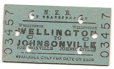 Railway Ticket New Zealand Railways Wellington Johnsonville 23 Oct 38 (02/26/2012)