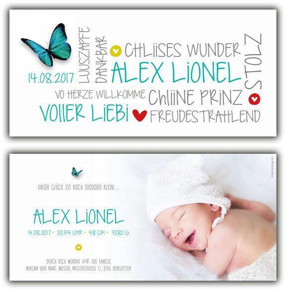 Geburtskarte Geburtsanzeige Kartendings Ch Geburtskarten Kreative Geburtskarten Babykarten