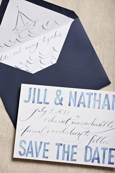 Sailboats Save the Dates by Swiss Cottage Designs via The Perfect Palette