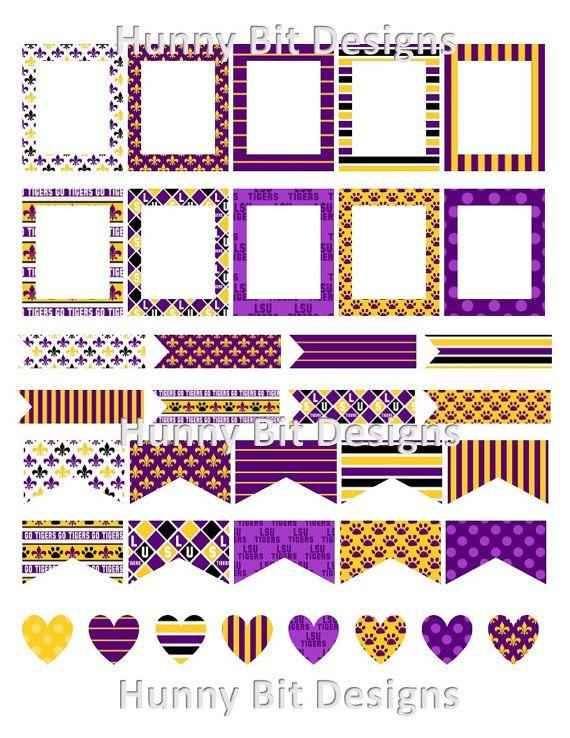 Erin Condren Planner LSU Tigers Flags Stickers Labels ...