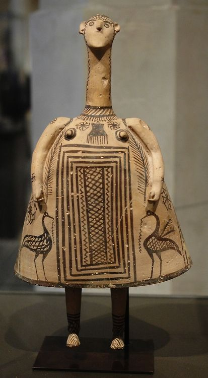 Bell idol. This terracotta figurine dates to the 7th century BC (the Late Geometric period). Theban workshop of the Oinochoe Group.