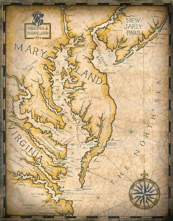 Chesapeake Bay Map Artwork c. 1670, Virginia Map, Maryland Map, Atlantic Coast, Baltimore, DC, Old Maps, Potomic River, Eastern Shore