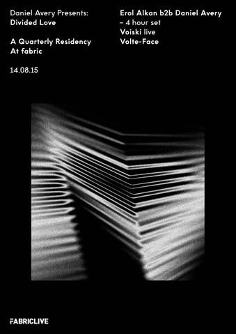 Daniel Avery's fabric residency 'Divided Love' returns August 14th with a mighty 4h b2b set with Erol Alkan. Joining them in room 1 will be French DJ & producer Voiski (LIVE), who's acerbic drum beats will be heard a mille off. Volte-Face, will be gracing his presence once again to complete this not-to-be-missed line up.  Early bird tickets are on sale now.