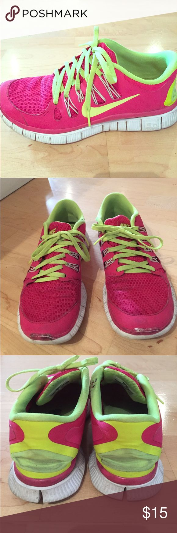Nike Free Pink and Neon Green Shoes Nike Free Pink and Lime Green Shoes / shoes are worn and show signs of scratches and dirt Nike Shoes Sneakers
