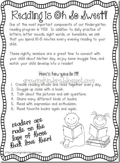 tips for parents when reading with their kindergartener...pass out at orientation