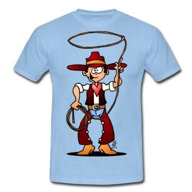 Cowboy mit einem lasso - Cowboy with a lasso. #Tshirt #Cowboy #Western #Rodeo #Cardvibes #Tekenaartje #Spreadshirt
