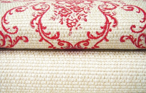 SAVE -- 2 Fabrics Set -- Home Decor Fabric -- Baroque design Ivory/Red and Solid Ivory -- Jacquard Fabric