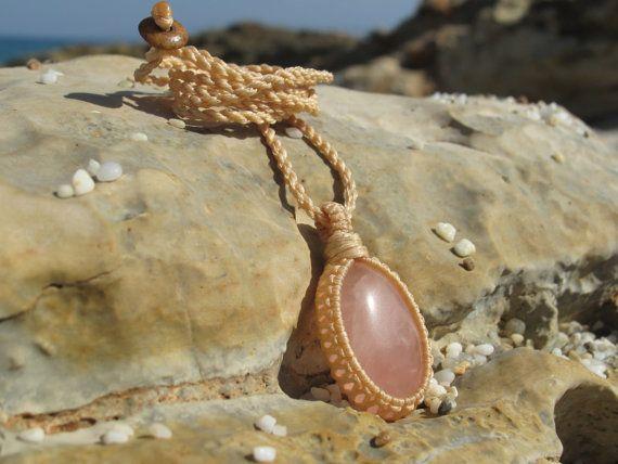 Rose quartz healing stone macrame pendant cabochon