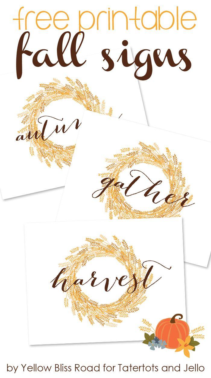 Free Printable Fall Signs -- Tatertots and Jello!!