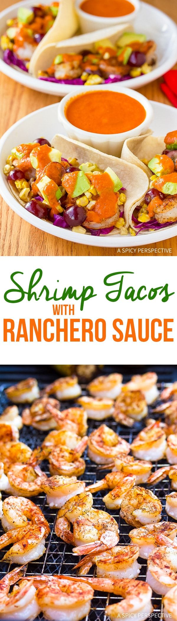 An easy Shrimp Tacos Recipe with Ranchero Sauce - These perky tacos are loaded with fresh produce and drizzled with creamy zesty sauce! via @spicyperspectiv