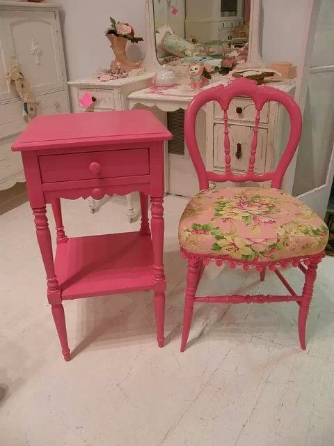 Pink Side Table And Chair Bedroom In 2019 Painted