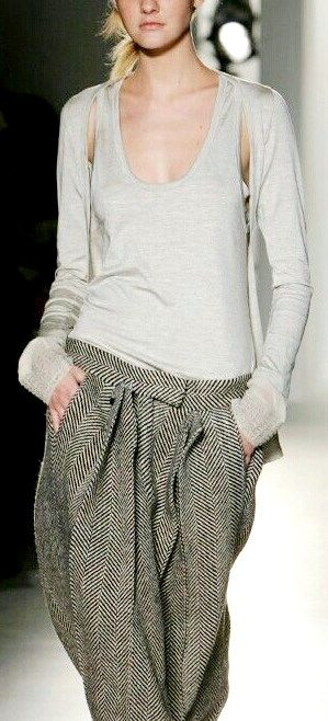 slouchy tweed herringbone grey oatmeal man-repeller trousers with self-tie waistband + multi-layered fitted scoop-neck long-sleeve light grey tee-shirt top