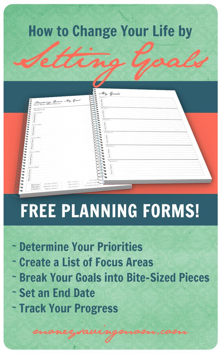 Want to be successful in setting goals? Read this post! It has a lot of valuable advice + free printable goal-setting forms to help you stay on track! #goalsetting