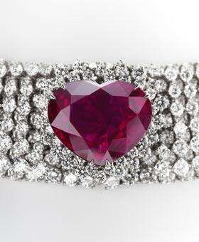fourteen million dollars - This necklace features as it's centerpiece a nearly 41-carat, super rare, heart-shaped Burma ruby. The brilliant stone is surrounded by more than 150 diamonds.