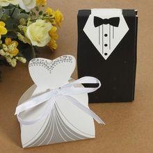 100pcs / Lot del partido del favor del regalo de la cinta del smoking del vestido de novia de la boda del novio cajas del caramelo(China (Mainland))