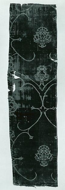 Fragment Date: mid-15th century Culture: Spanish Medium: Silk Dimensions: 32 3/4 x 8 5/8 in. (83.2 x 21.9 cm) Classification: Textiles-Velvets