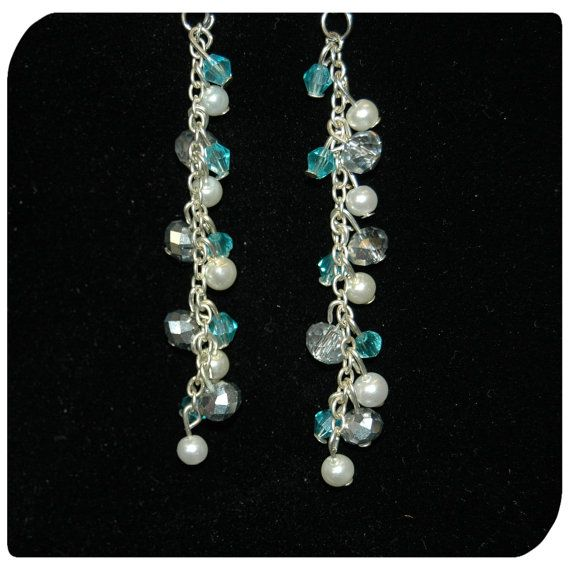 Buy at:https://www.etsy.com/uk/shop/KinleysDesigns  #accessories #earrings #homemade #jewelry #blue #white #silver #girly #long #pretty #pearl