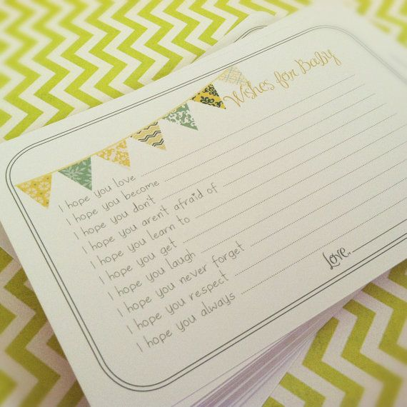 Neutral Wishes for Baby Cards - Unique Baby Shower Activity Game or Memory Book Idea - Set of 15 - Yellow and Green