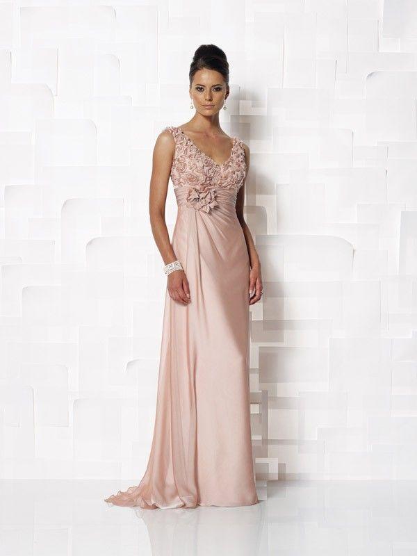 Sheath/Column V-neck Hand-made Flower Sleeveless Chiffon Floor-length Dresses
