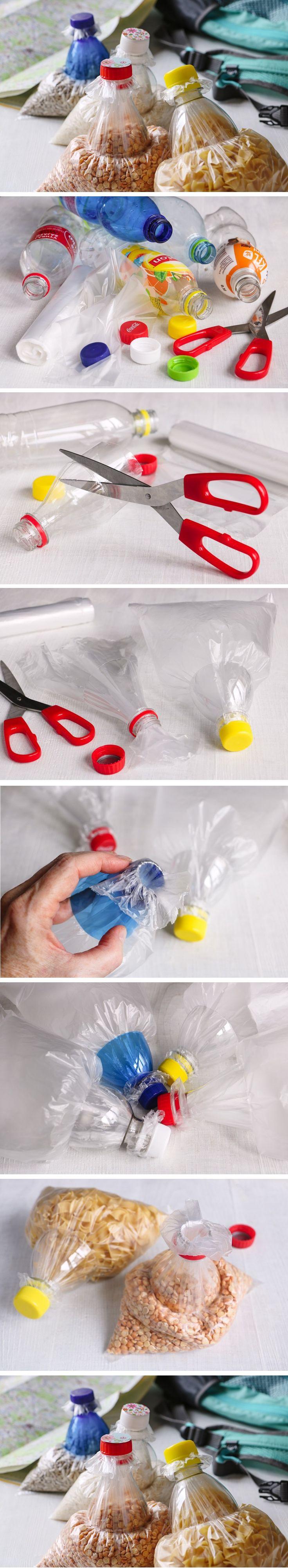 Vyrobte si na cesty znovu uzavíratelné sáčky z pet lahví. Hodit se vám budou třeba do kempu. Návod krok za krokem najdete na našem webu.