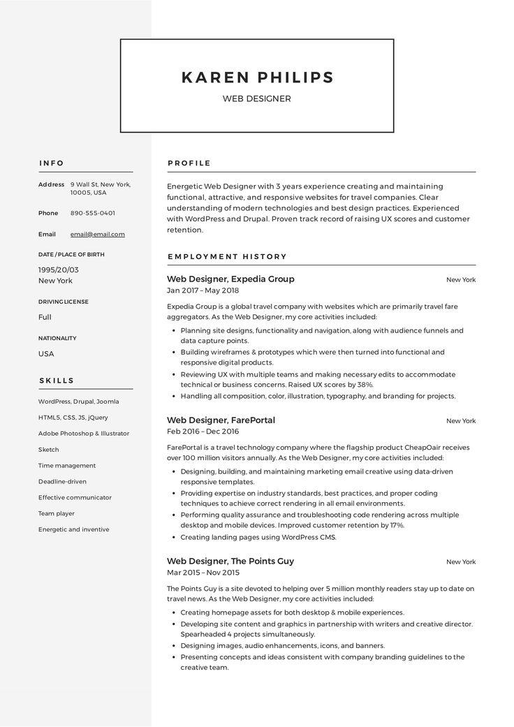 web designer resume pdf download
