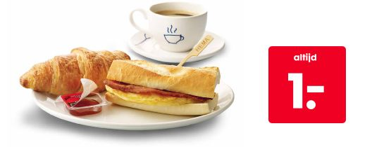 Bij HEMA kun je 's morgens terecht voor een heerlijk ontbijtje voor maar 1.-. Een vers kopje koffie met een croissant, jam en een broodje ei. Zo wordt buiten de deur ontbijten nog leuker. Je kunt het ontbijt tot 10.00 uur krijgen in de HEMA winkels met een restaurant.  + koffie van versgemalen bonen met Rainforest Alliance-keurmerk + verse roombotercroissant met jam + vers afgebakken baguette met omelet