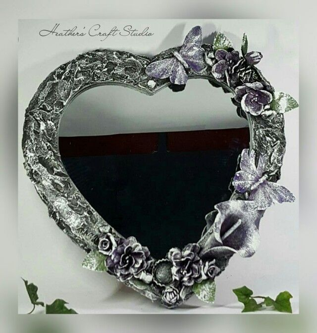 Mixed Media Heart Mirror by Heather's Craft Studio