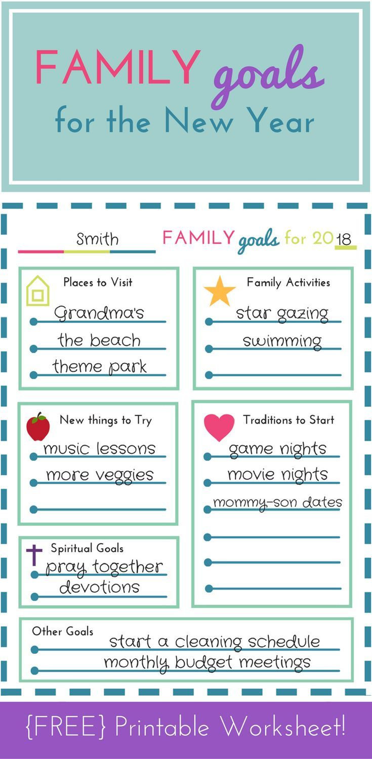 Free Printable Family Goal Setting Worksheet For The New Year Homeschool Giveaways Family Goals Goal Setting Worksheet New Year Goals