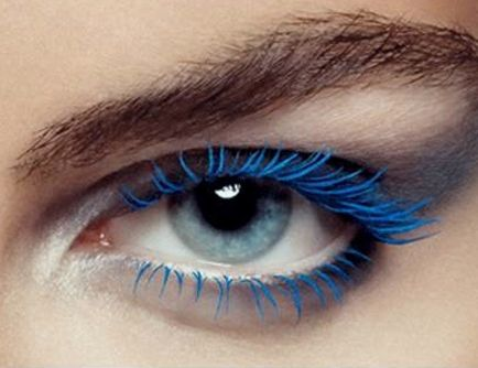 80s blue mascara. Electric blue, purple, and hot pink.