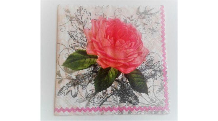 Rózsás szalvéta - KreatívHobbyDekor webáruház
