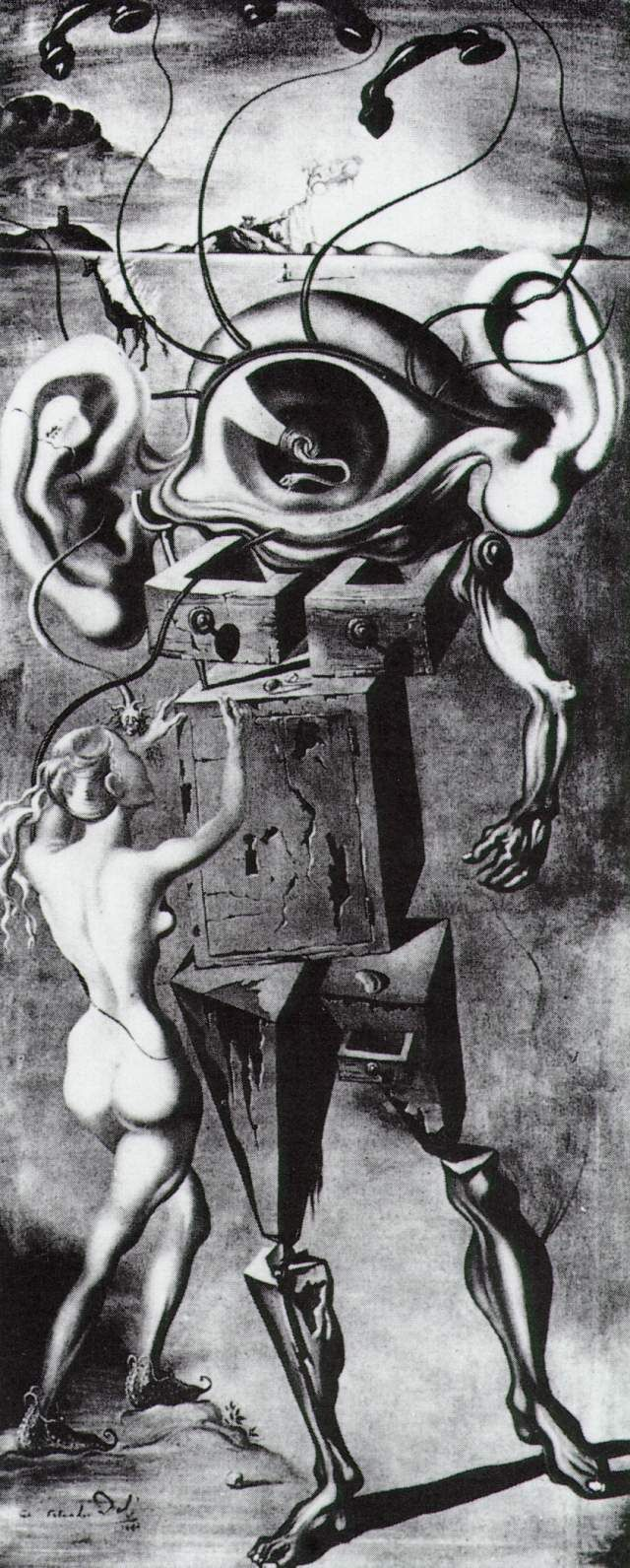 Salvador Dali - Untitled: The Seven Arts by 1944. Destroyed in a fire at the Ziegfeld Theatre, NYC