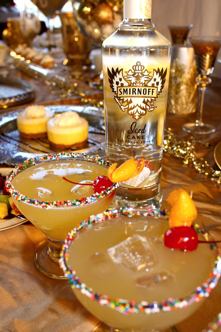 Pineapple Upside-Down Cake Drink | 1 oz. SMIRNOFF® Iced Cake Flavored Vodka,1 oz. orange juice,1 oz. pineapple juice; top off with club soda. Combine ingredients in a Highball glass over ice and top off with Club Soda. Garnish with sprinkles, a cherry and an orange twist.