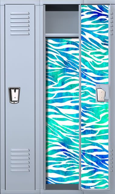 Zebra Print: Teal Watercolor Magnetic Full Length School Locker Wallpaper Set