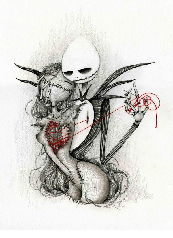 Hommage à Tim Burton || Jack and Sally by Laetitia Lamblin