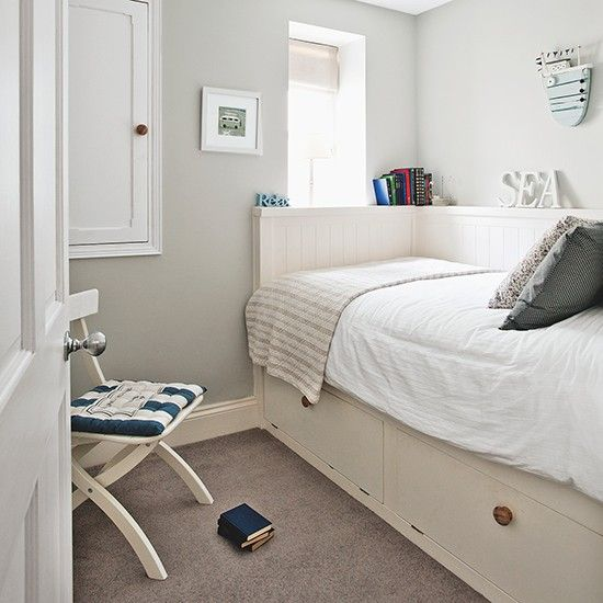 Small Bedroom Design Ideas Uk woodland print bedroom with white wood panelling | small bedroom
