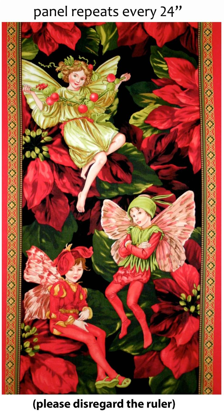 DC5537 Holiday Fairies Panel red flower fairies cicely mary baker children kids fairy
