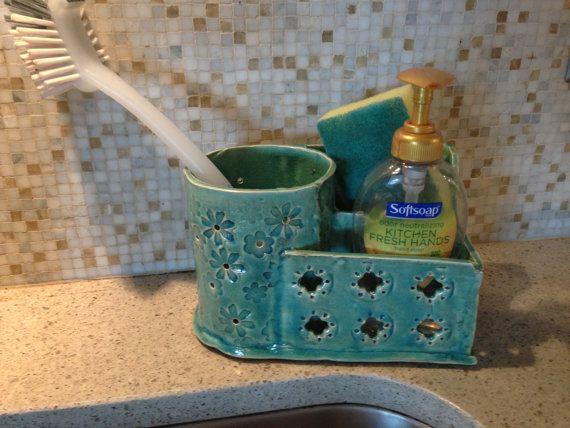 Green Ceramic organizer, hand built can hold sponges, brush, small flat soap dispenser holder
